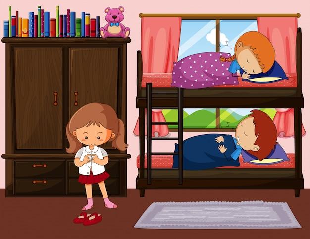 Etagenbett Junge Und Mädchen : Kinder schlafen im etagenbett und ein mädchen bekommt kleid