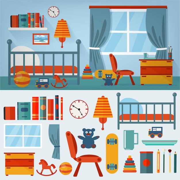 Kinder-schlafzimmer-interieur mit möbeln und spielzeug Premium Vektoren