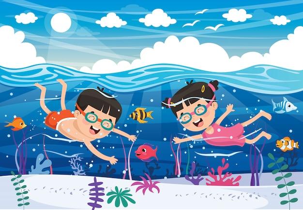 Kinder schwimmen auf dem meer Premium Vektoren