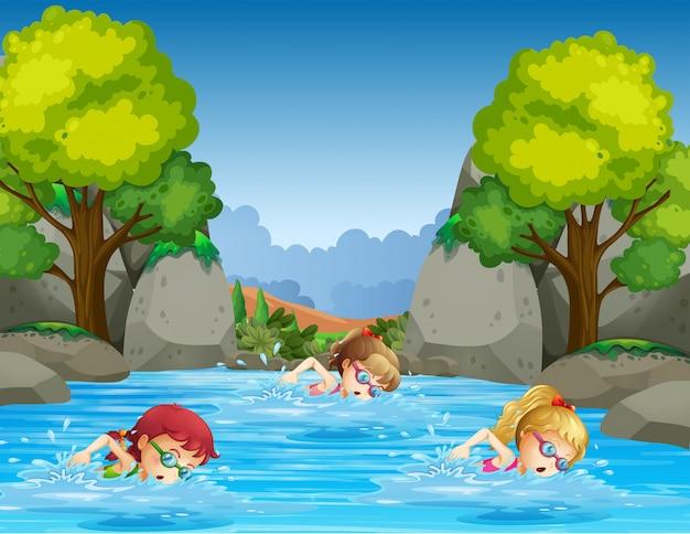 Kinder schwimmen in der natur Kostenlosen Vektoren
