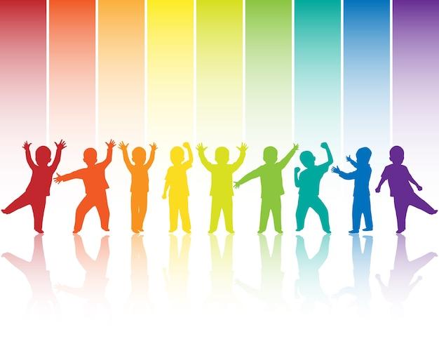 Kinder silhouetten auf regenbogen hintergrund Premium Vektoren