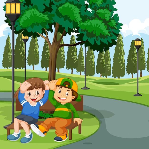 Kinder sitzen auf der parkbank Kostenlosen Vektoren