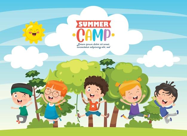 Kinder sommercamp Premium Vektoren