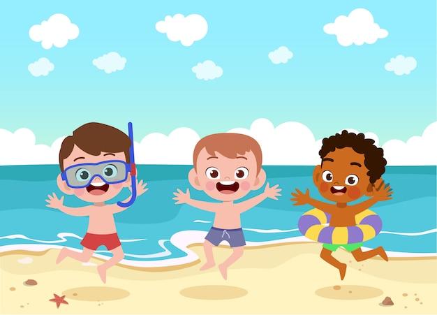Kinder spielen an der strandillustration Premium Vektoren
