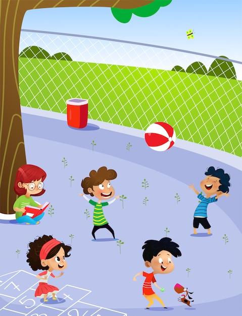 Kinder spielen auf dem spielplatz Premium Vektoren