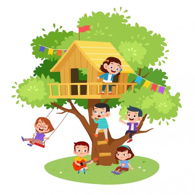 Kinder spielen baumhaus Premium Vektoren