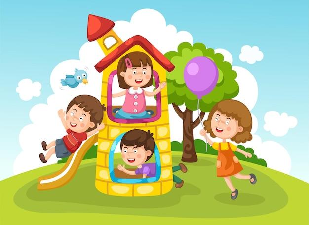 Kinder spielen draußen Premium Vektoren