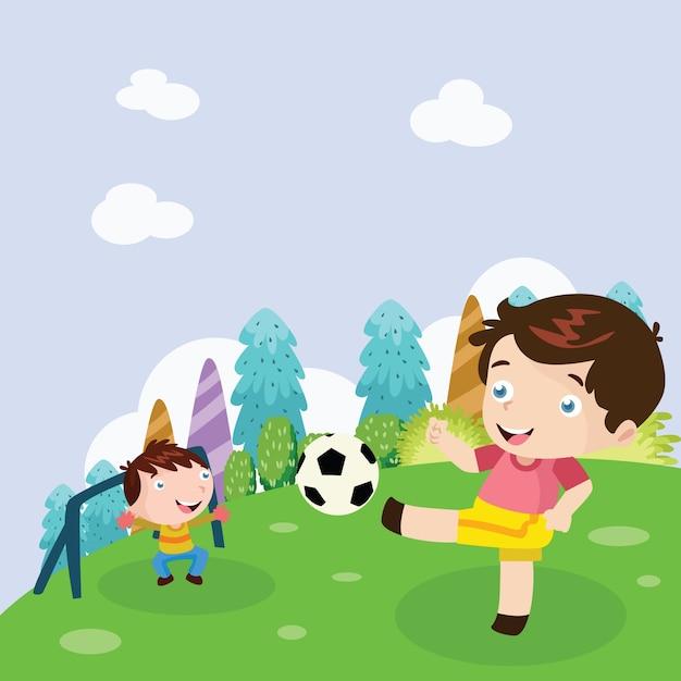 Kinder Spielen Fussball Cartoon Illustration Premium Vektor