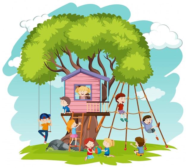 Kinder spielen im baumhaus Premium Vektoren