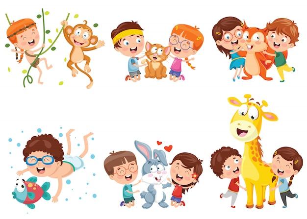 Kinder spielen mit lustigen tieren Premium Vektoren