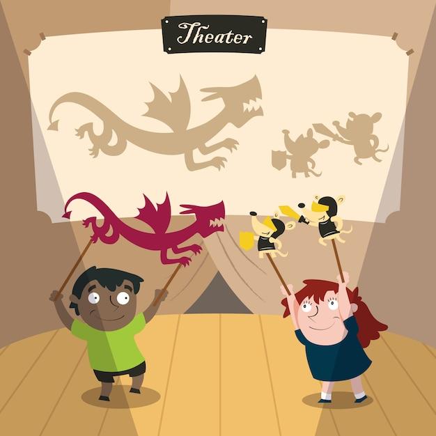 Kinder spielen mit theaterschatten Premium Vektoren