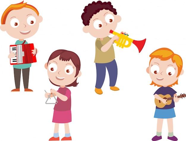 Kinder spielen musik vektor Premium Vektoren