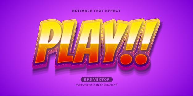 Kinder spielen sie den bearbeitbaren texteffekt Premium Vektoren