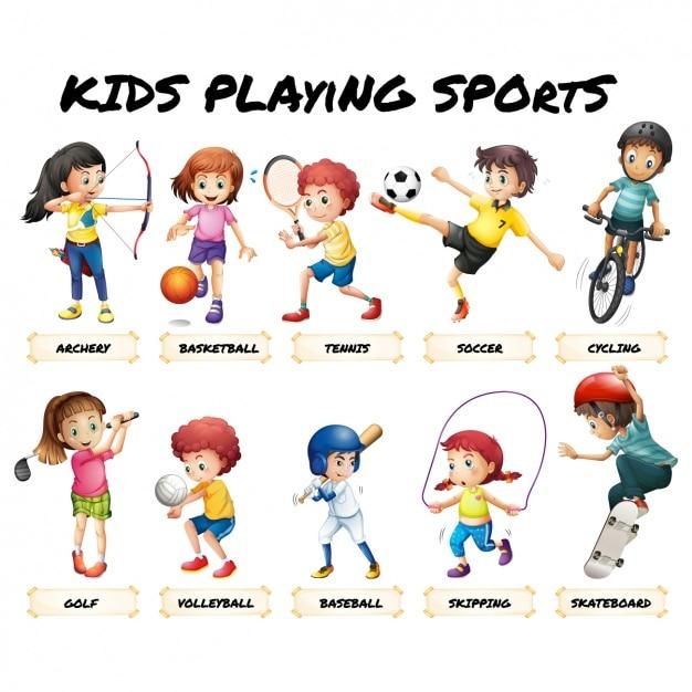 Kinder spielen sport Premium Vektoren