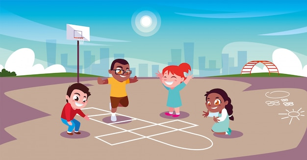 Kinder spielen und sport im stadtpark Premium Vektoren