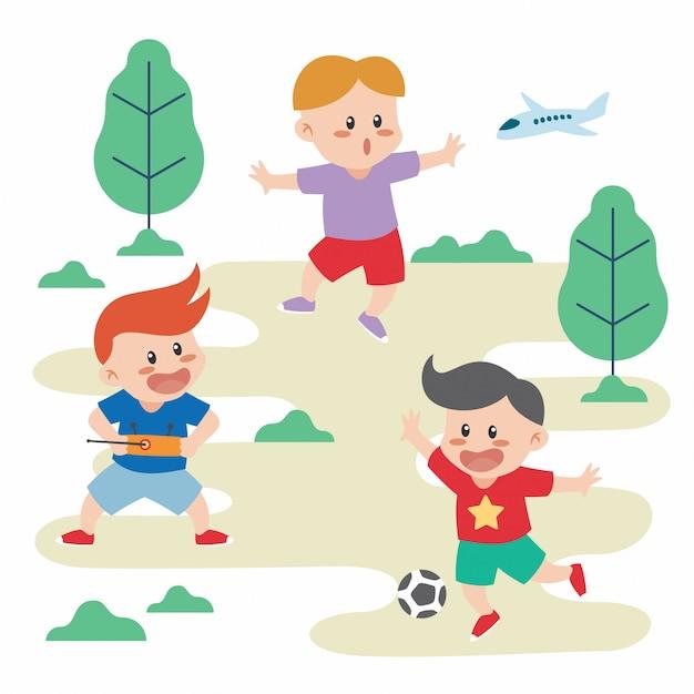 Kinder spielen Premium Vektoren