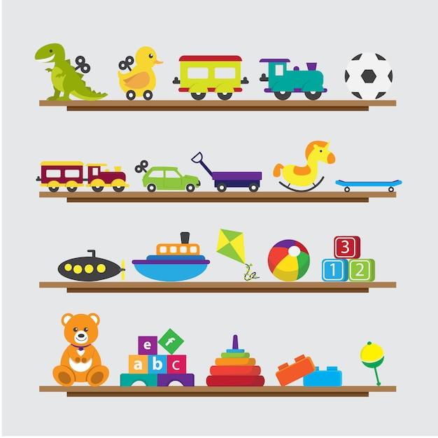 Kinder Spielzeug Sammlung auf einem Regal Kostenlose Vektoren