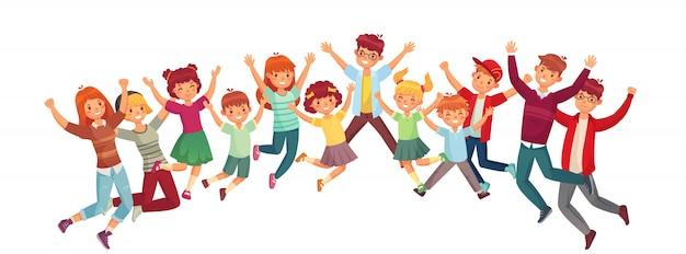 Kinder springen. der aufgeregte sprung der kinder oder illustration des zusammen trainierenden lokalisierten satzes Premium Vektoren