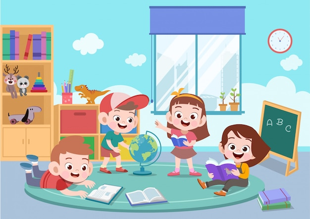 Kinder studieren zusammen vektorillustration Premium Vektoren