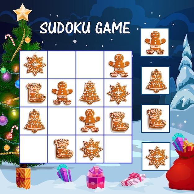 Kinder-sudoku-spiel mit weihnachtslebkuchenplätzchen. arbeitsblatt für pädagogische aktivitäten für kinder, logisches labyrinth oder spiel mit süßigkeiten für die winterferien, geschmücktem weihnachtsbaum und geschenkkarikatur Premium Vektoren
