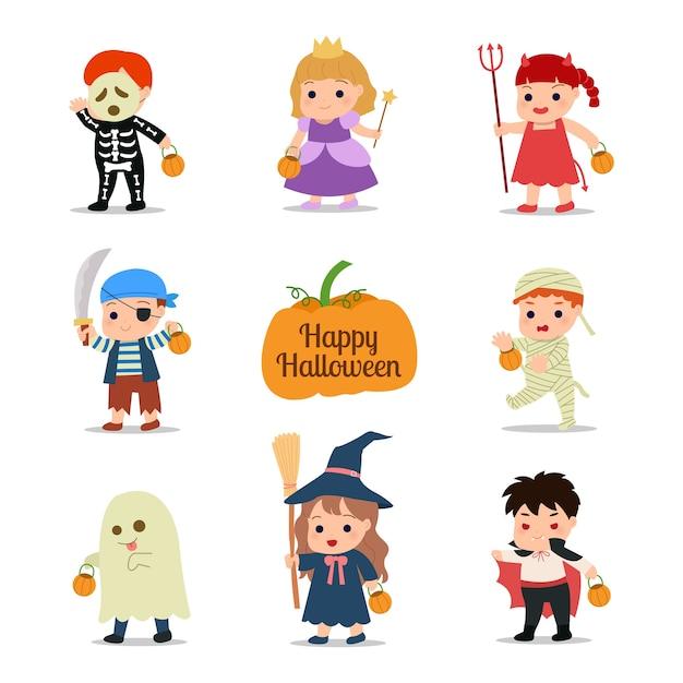 Kinder tragen kostüme für schulfeier. nette jungen und mädchen clipart. illustration im weißen hintergrund. Premium Vektoren