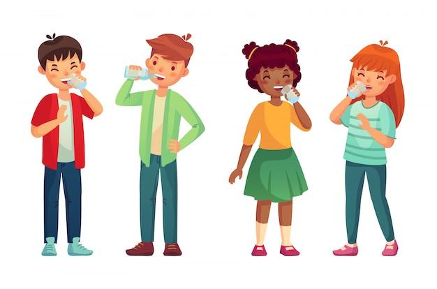 Kinder trinken sauberes wasser aus glas und flasche. flüssigkeitsspiegel konzept Premium Vektoren