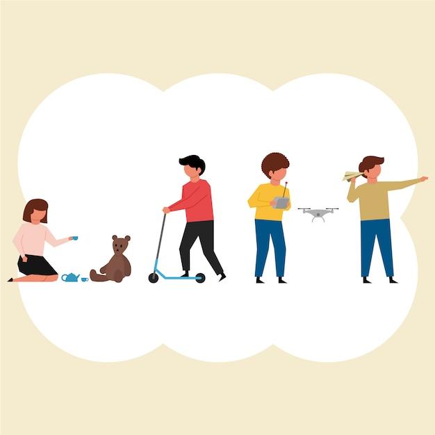 Kinder und ihre Aktivitäten Charaktere packen in flaches Design Premium Vektoren