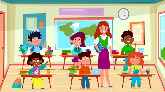 Kinder und lehrer im klassenzimmer. der schulpädagoge unterrichtet die schülergruppe im klassenraum. glücklich aussehende schulkinderkonzept der bildungskarikatur Premium Vektoren