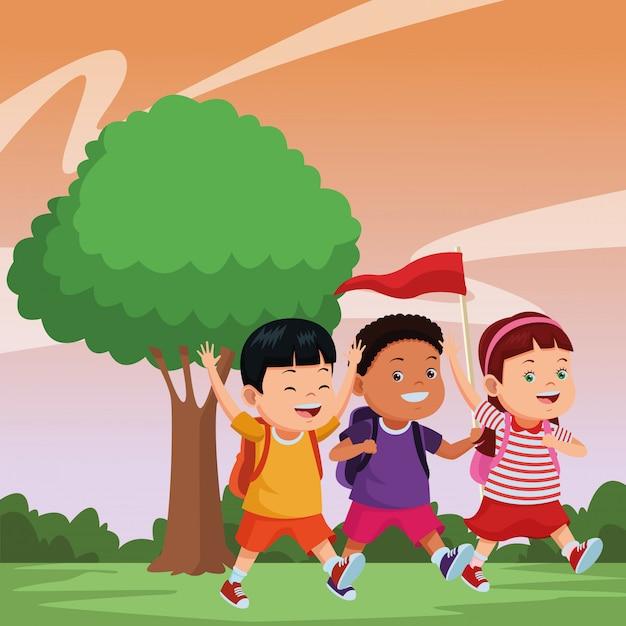 Kinder- und sommercamp-cartoons Kostenlosen Vektoren