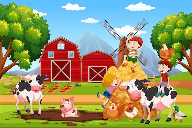 Kinder und tiere auf ackerland Premium Vektoren