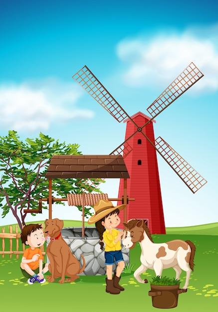 Kinder und tiere auf dem hof Kostenlosen Vektoren