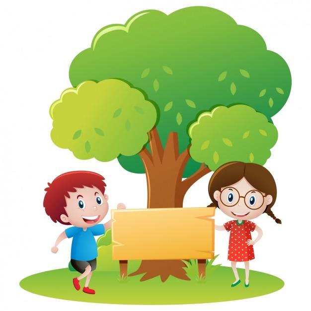 Kinder unter einem baum design Kostenlosen Vektoren