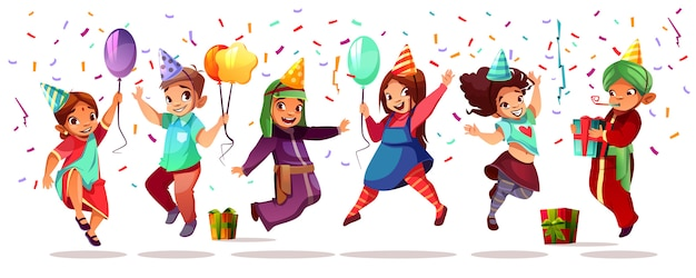 Kinder unterschiedlicher nationalität, die geburtstag oder feiertag mit farbballons feiern Kostenlosen Vektoren