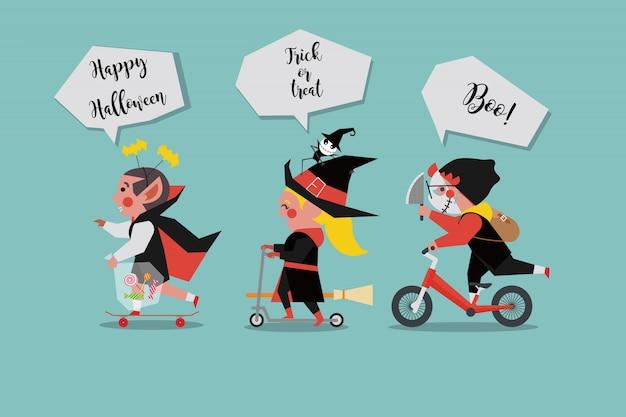 Kinder verkleiden sich als Geister in einer Halloween-Party ...