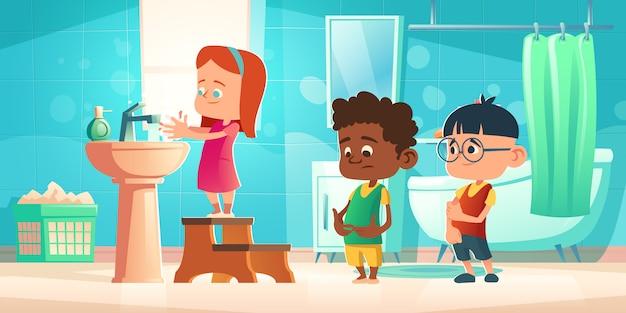 Kinder waschen hände im badezimmer, kinderhygiene Kostenlosen Vektoren