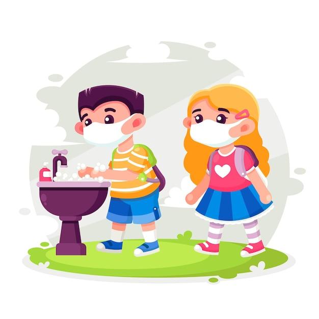 Kinder waschen sich in der schule die hände Kostenlosen Vektoren