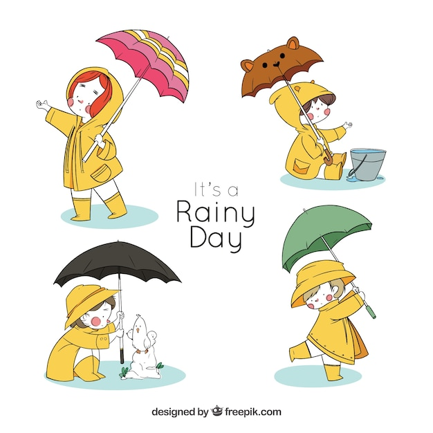 Kinder zeichen mit sonnenschirmen für einen regnerischen tag Kostenlosen Vektoren