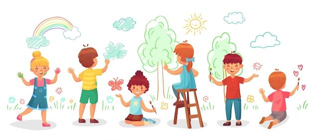 Kinder zeichnen an der wand. farbmalereien des gruppenabgehobenen betrages der kinder auf wänden, kinderfarbenkunst-karikaturillustration Premium Vektoren
