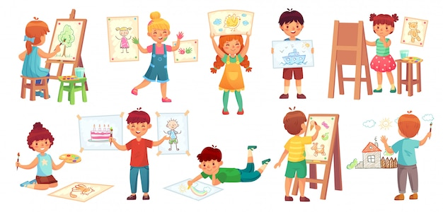 Kinder zeichnen. scherzen sie illustrator, babyzeichnungsspiel und zeichnen sie kindergruppenkarikatur Premium Vektoren