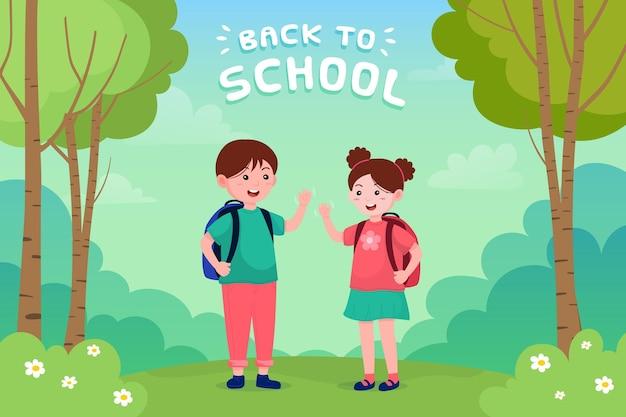 Kinder zurück zur schule illustration Kostenlosen Vektoren