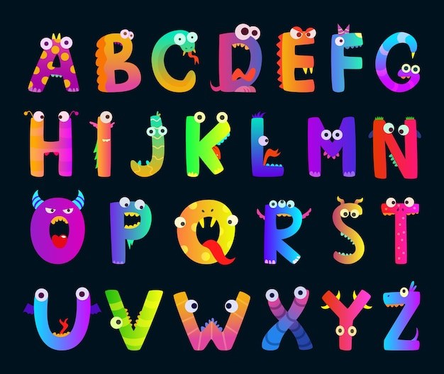 Kinderalphabet mit lustigen monsterbuchstaben. süße charaktere. alphabet charakter monster, lustige cartoon brief abc illustration Premium Vektoren