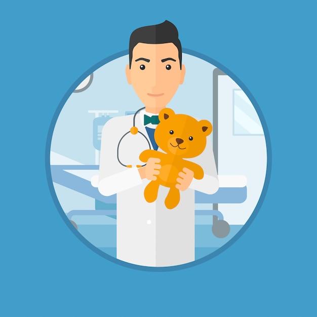 Kinderarztdoktor, der teddybären hält. Premium Vektoren