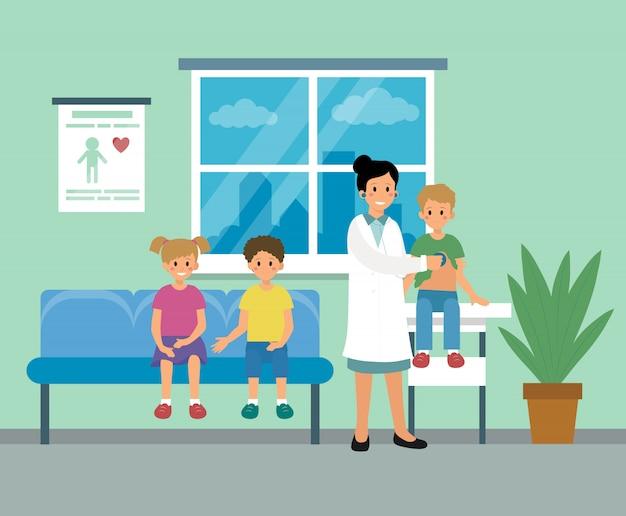Kinderarztdoktorfrau, die ärztliche untersuchung der kinderillustration tut Premium Vektoren