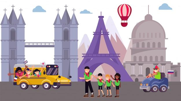 Kinderausflugslager am besichtigungstourplatz, illustration. sommertourismusreise-karikatururlaub am welthintergrund. Premium Vektoren