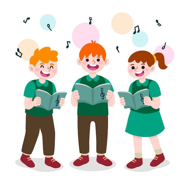 Kinderchor singen cartoon-stil Premium Vektoren