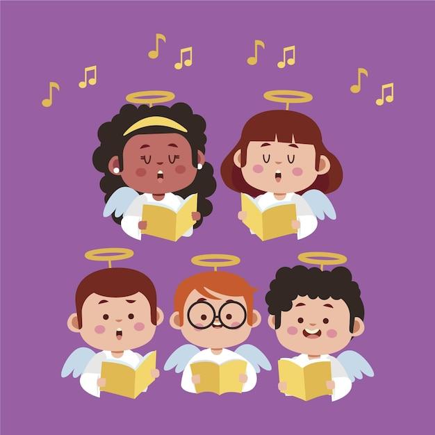 Kinderchor singen illustration Kostenlosen Vektoren