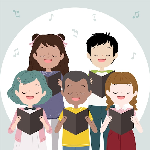 Kinderchor singen zusammen Kostenlosen Vektoren