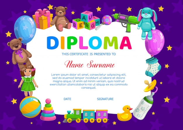 Kinderdiplom für kindergarten mit spielzeug Premium Vektoren