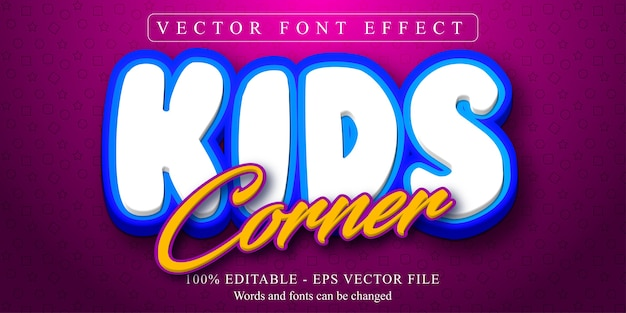 Kindereckext, bearbeitbarer texteffekt im cartoon-stil Premium Vektoren
