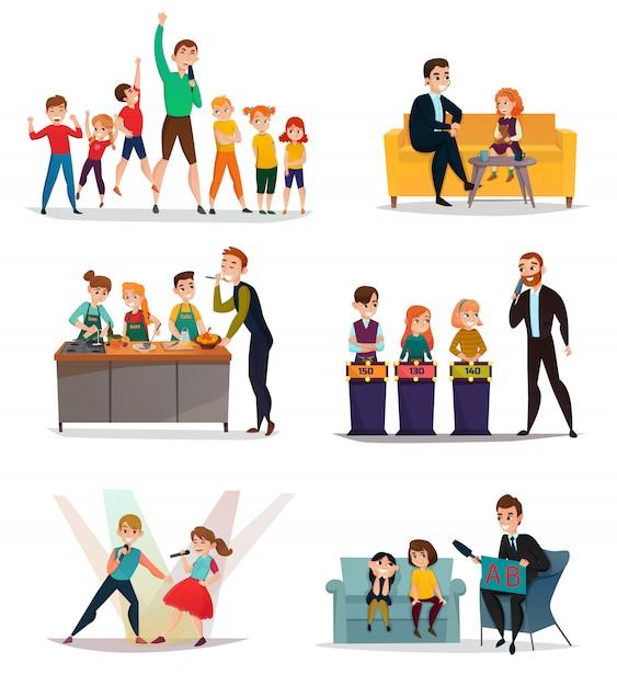 Kinderfernsehshow-set Kostenlosen Vektoren